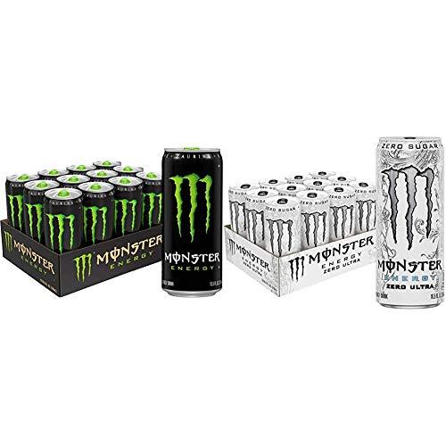 Monster Energy Drink, Green Original, 10.5 Ounce (Pack of 12) & Zero Ultra, Sugar Free Energy Drink, 10.5 Ounce (Pack of 12)