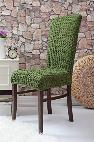 Mixibaby Fiora Stretch Stuhlhusse Stuhlbezug Elastische Husse Dekoration Stuhl Husse aus Elastik-Stoff für universelle Passform, Farbe:tannengrün