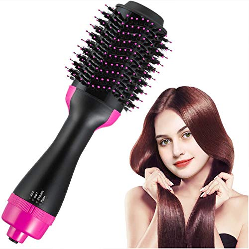 Electric Hair Dryer & Volumizer Hot Air Brush 2-in-1 Infrared Negative Iron Hair Brush Electric Hair Brush Straightener Lightweight Hair Dryer Comb Anti-Scald for Straight & Curly Hair