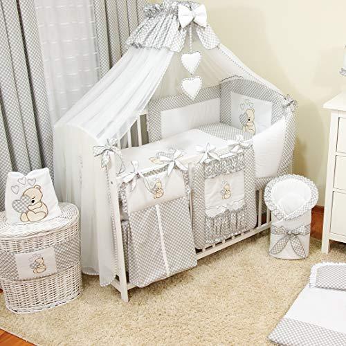 17tlg. TIMI Baby Bettwäsche-Set Babybett Komplett-Set Kinderbett Kinderbettwäsche für Babys und Kleinkinder (Grau)