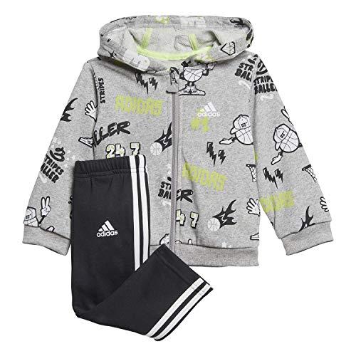 adidas I Grap Fz Hd Ft Tuta, Unisex bimbi, Top:Medium Grey Heather/White Bottom:Black/White, 2-3Y