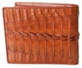 Authentic M Crocodile Skin Men's Bifold Crocodile Tail Skin Leather Tan Wallet