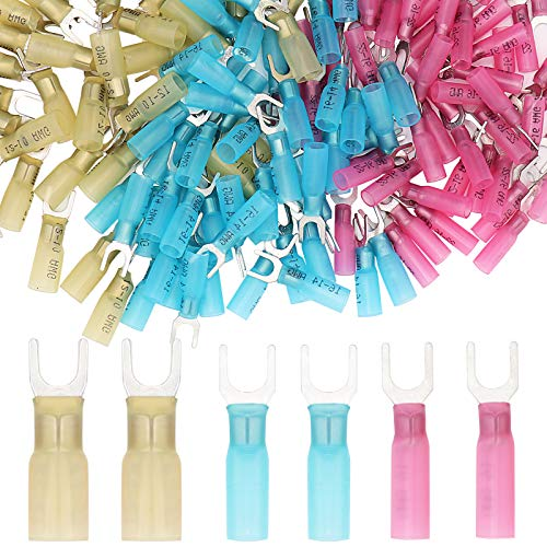 150 PCS 22-16 16-14 12-10 Gauge Heat Shrink Fork Terminals #10 Quick Disconnect Electrical Insulated Crimp Connector