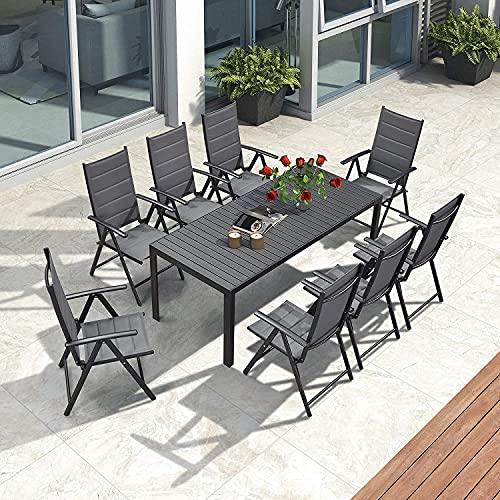 PURPLE LEAF Aluminium Sitzgarnitur 8+1 Sitzgruppe Gartenmöbel Tisch & Stuhl-Set, 5-Fach verstellbare Hochlehner Stühle, Klappstuhl, Terrassen, Hinterhöfe, Grau