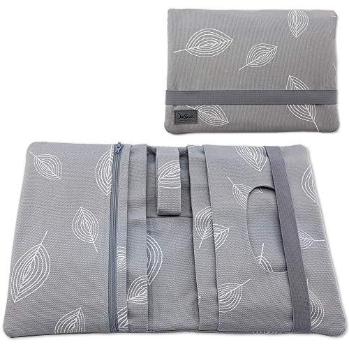 Wickeltasche Canvas Windeltasche - Reisetasche - Wickelmäppchen Windeletui - Canvas Stoff - Blätter grau - SmukkeDesign NEU