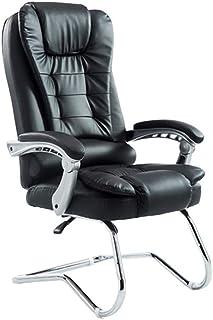 BOC Silla de escritorio de oficina, silla de reunión de cuero sintético Silla de conferencia con respaldo alto Silla de trabajo ejecutiva Boss Manager, doble cojín, patas de metal cromado - negro mar
