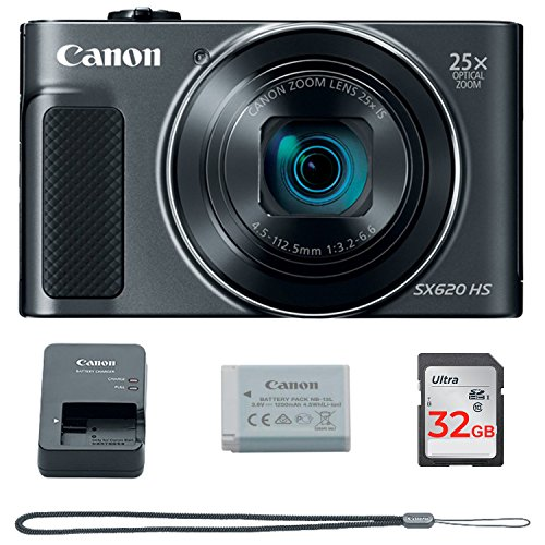 Canon PowerShot SX620 Digital Camera w/25x Optical Zoom - Wi-Fi & NFC Enabled (Black) - Memory Card Bundle (Camera + 32GB Memory Card)