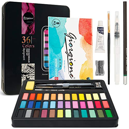Kalkehay Watercolor Paint Set 36 Vivid Colors with 8 Sheets Water Color Paper, Refillable Brush Pen, Brush, Drawing Pencil, Sponge, Gift for Adults Kids Beginners Travel Case