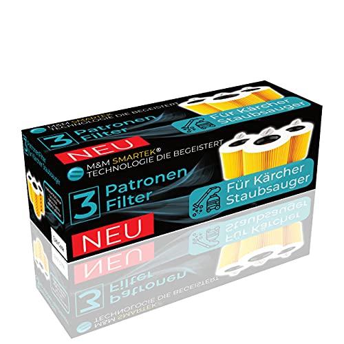 3 filtros para aspiradora Kärcher (WD3, WD2, WD1, MV3, MV2, A, K, KNT, NT, SE, VC) – 3 filtros redondos y 3 tornillos de cierre para alérgicos contra polvo fino y olores