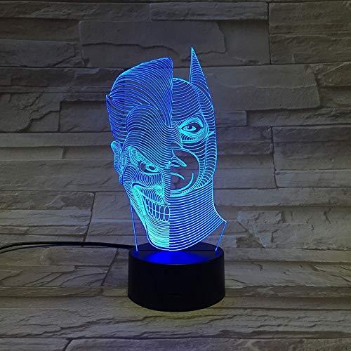 SXMXO Batman Joker 3D LED Night Light 7 Coloré Acrylique Joker USB LED Lampe De Table Créative Action Figure Éclairage Jouets Cadeaux pour Garçons,7colortouch+remotecontrol