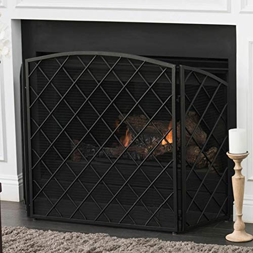 Find Bargain ZAQI Modern Free Standing Black Fireplace Screen, Folding Black Iron Flat Guard Fire Sc...