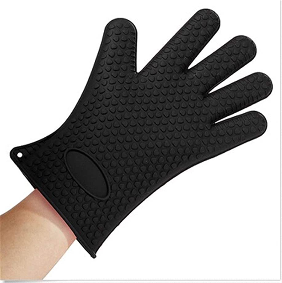 Daqin Silicone Kitchen Grilling Gloves Oven Mitts Heat Resistant Barbecue Potholder Non-Slip Cooking BBQ Grill Glove Baking Glove (Color : Black)