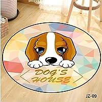 円形ラグカーペットラグ エリア敷物寝室クリエイティブラブリー犬や猫ラウンドカーペットのためにリビングルームのベッドルームキッドラグホームカーペットの床ドアマットのシンプルなラグマットマット (Color : 7, Size : 100X100cm)