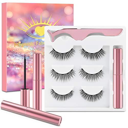 Faux Cils Magnetique Eyeliner, 3 Paires De Cils Magnétique, 3D Faux Cils Naturel, Cils Magnétiques avec Eye-liner, Imperméable et sans Colle Requise, Cils Magnétiques 3D Réutilisables et Pincettes