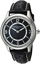 Frederique Constant Men's Horological Smart Watch Stainless Steel Swiss-Quartz Leather Calfskin Strap, Black, 21 (Model: FC-282AB5B6)