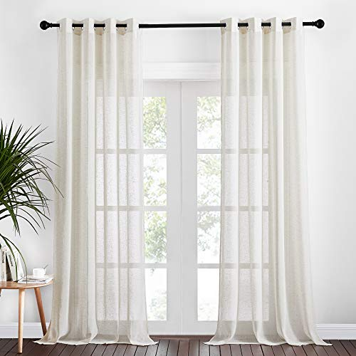 NICETOWN Natural Linen Blend Farmhouse Sheer Curtains, Eyelet Top Bedroom Window Privacy Semitransparent Light Penetration Flax Sheer Drapes for Country Style Decor, Cloudy, W52 x L108, 2 Pieces