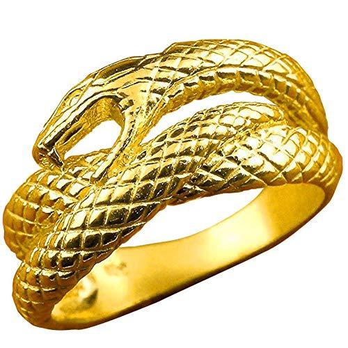 [アトラス] Atrus リング レディース 24金 純金 蛇 幅広 指輪 ピンキーリング 22号