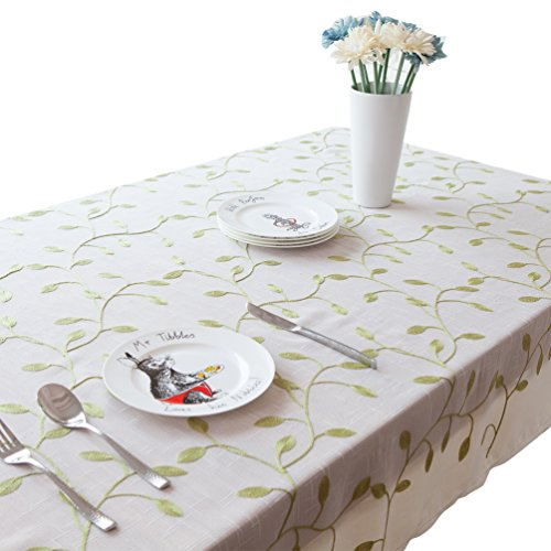 NiSeng Nappes imprimé Anti Taches Polyester Nappe de Table Rectangulaire Nappe pour Table Exterieur décorative Blanc 140x140 cm