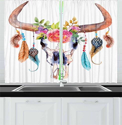 Ambesonne Watercolor Kitchen Curtains, Bull Skull with Hanging Flower Feathers Inspired Design, Window Drapes 2 Panel Set for Kitchen Cafe Decor, 55