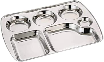 Stainless Steel 6 Compartment Rectangle Plate,Thali,Stainless Steel Rectangle Tray,Dinner Plate,Indian Dinner Thali
