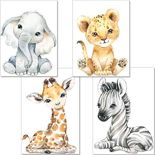artpin Juego de 4 imágenes para habitación de bebé, decoración para niños y niñas, DIN A4, póster para habitación infantil, animales de la selva, safari, africano, elefante, tigre, jirafa, cebra, P60