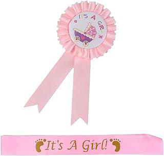 Sharplace 洗礼式 出産祝い パーティー用 サテン製 サッシュ バッジ 徽章 全2色  - ピンク