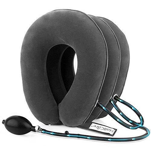 HailiCare Hals Zugvorrichtung - Aufblasbare Halskragen/Nackenstütze - Zervikale Traktion Nackenkissen gegen Kopf- und Schulterschmerzen - mit verstellbarer Größe, größerer Pumpe (Grau)