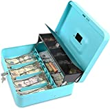 Cash Box with Key Lock - Steel Tiered Money Coin Tray with Lid Cover and Bill...