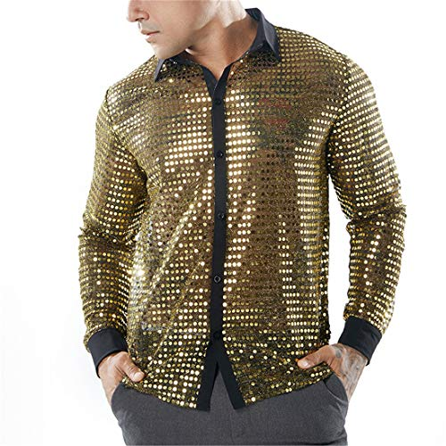 DOLAA Mens Dress Shirt Silver Sequins Long Sleeve Button Down 70s Disco Shirt Party Costume Mens Dress Shirt Silver Sequins Long Sleeve ButtonMen's Shirts for Men Dress Shirts Long Sleeve Button