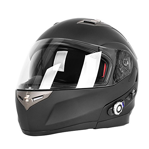 FreedConn Motorcycle Bluetooth Helmet, BM2-S Bluetooth Integrated Modular Flip up Dual Visors Full Face Motorcycle Helmet Built-in Intercom Communication Range 500M FM Radio (Medium, Matte Black)