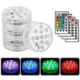 Vegena 4 Stück Unterwasser Licht, LED mit Fernbedienung 13-LED Beleuchtung RGB Multi Farbwechsel...