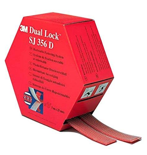 3M Dual Lock SJ356D, wiederlösbares Befestigungssystem - transluzentes Erscheinungsbild (Glas, Acrylglas (PMMA), Polycarbonat) - 2 x 25mm x 5m, Transluzent, Dicke: 5.7mm (1-er Pack)