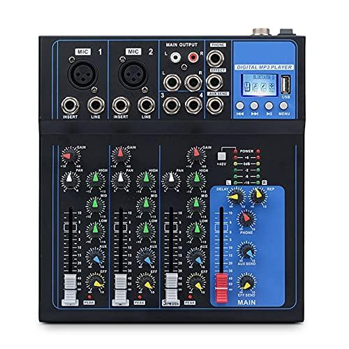 Mesa de Mezclas 4 Canales Bluetooth DJ Mic USB Drive Play Ecualización del Mezclador De Audio De Ajuste Contrillo para Transmisión en Vivo (Color : Black, Size : One Size)
