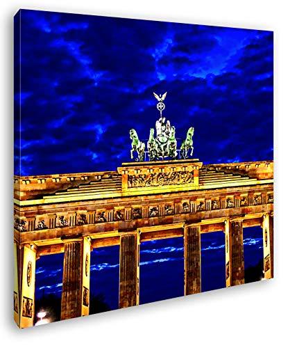 gigantisches Brandenburger Tor bei Nacht im Format: 70x70 Effekt: Zeichnung als Leinwandbild, Motiv fertig gerahmt auf Echtholzrahmen, Hochwertiger Digitaldruck mit Rahmen, Kein Poster oder Plakat