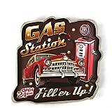 DiiliHiiri Cartel Retro Luminoso Garage Vintage Letrero Metálico Artesania Accesorios Decoración Hogar de Años 50 Cochera Abierto 24h (Gas Station Fill'er Up)