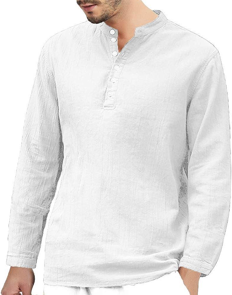 K-Men Mens Long Sleeve Henley Shirt V Neck Cotton Linen Shirts Loose Casual Summer Beach T Shirt Tops