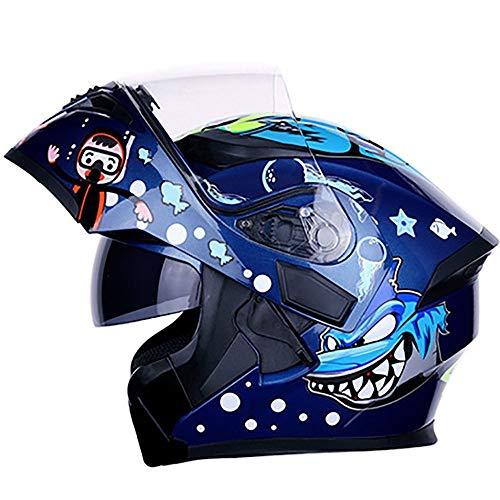 Stella Fella Casco de motocicleta de color azul Shark Cross Country Mountain de cara completa, casco clásico de carreras, motocross Downhill (talla: XXL)