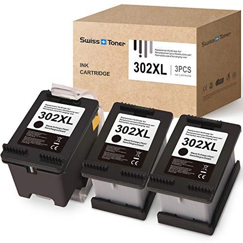 SWISS TONER Kompatible für HP 302 302XL für HP Officejet 3833 3834 3830 3832 4650 4654 Deskjet 3630 2130 1110 Envy 4522 4524 4525 4520 Drucker(1xSchwarz 2xSchwarz Ersatz)
