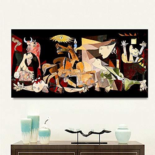 No frame Print Schilderij Picasso Guernica Vintage Klassieke Figuur Canvas Poster Muur Modulaire Foto Voor Woonkamer Woondecoratie 60x120cm