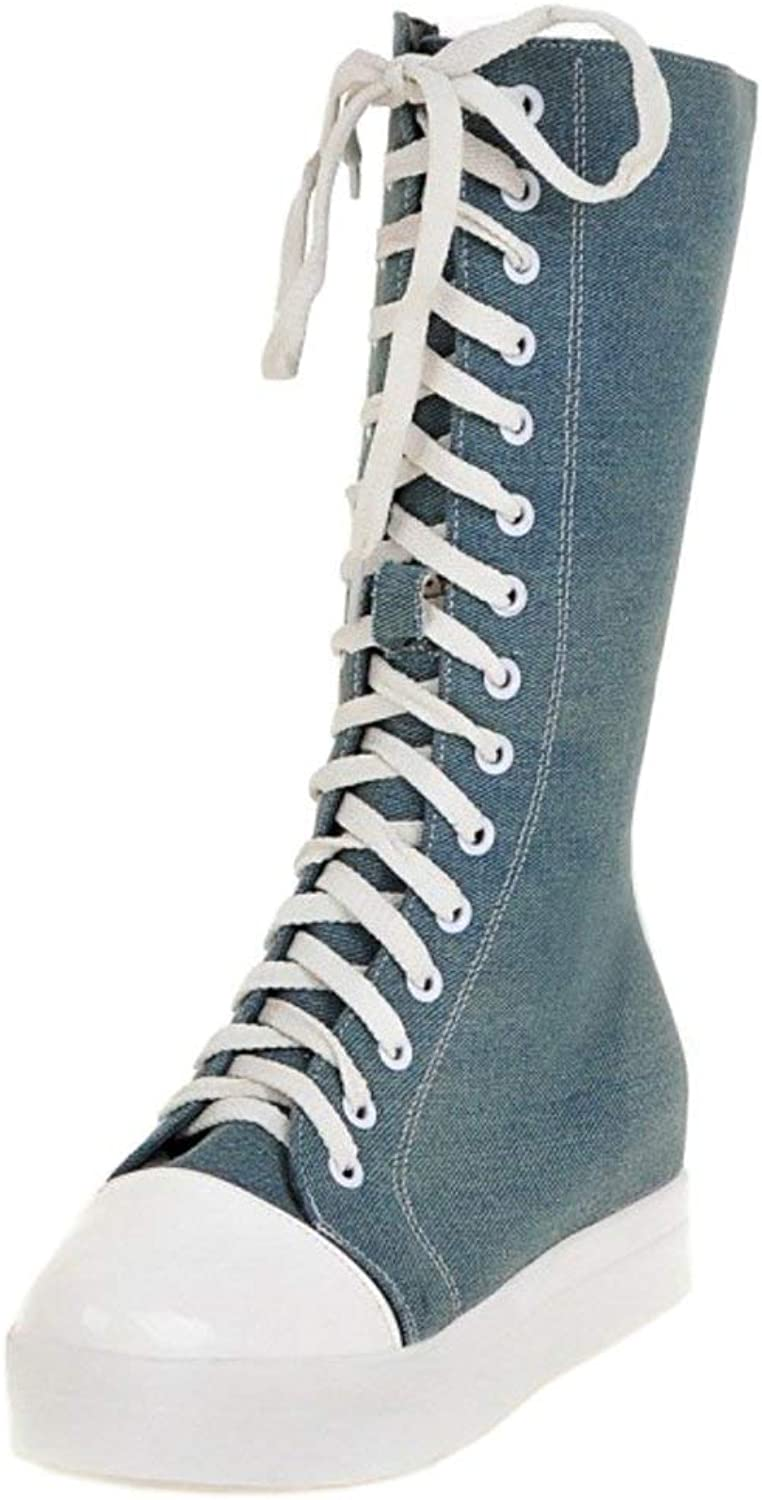 Unm Womens Casual Lace Up Canvas Mid Calf Boots Platform Sneaker Boots