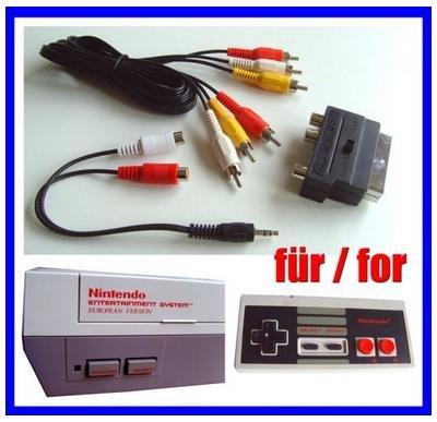 NES AV Cinch Chinch TV Video Kabel + Scart Adapter für Nintendo NES Konsole