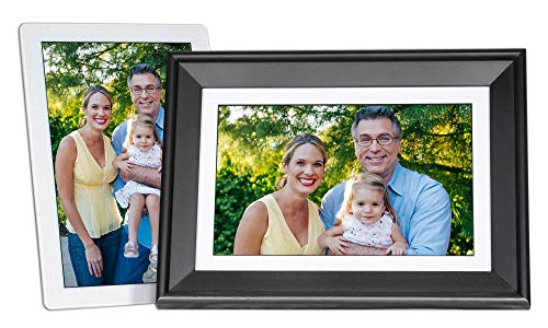 PhotoSpring 10in 16GB WiFi Digital Picture Frame White/Removable Black Frame, Touchscreen, Photo, Video, Send by Email, App, or Web