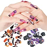 6 Boxes Halloween Nail Art Glitters Halloween Nail Art Flakes Pumpkin Witch Spider Bat 3D Halloween Acrylic Manicure Sequins Holographic Face Body Confetti for Nail Art Tips Decor