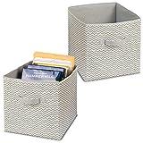 mDesign Juego de 2 cestas de Tela con Asas – Grandes Cajas organizadoras para...