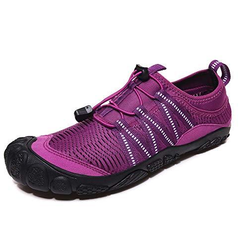 Aerlan Schwimmschuhe Wasserschuhe,Barfuß Schuhe für Wassersport,Schnelltrocknende Kletterschuhe rutschfeste Watschuhe Atmungsaktive Upstream-Schuhe-lila_42