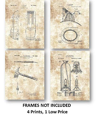 Fireman Truck, Hatchet, Fireman's Hat, Fire Extinguisher Artwork - Set of 4 8 x 10 Unframed Patent Prints - Great Gift for Firefighters and First Responders
