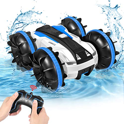 Remote Control Car, Amphibious All Terrain 4WD 2.4Ghz Stunt Car RC Off Road Monster Vehicle Pool Toys Gift for Boys and Girls 3 4 5 6 7 8 Years Old