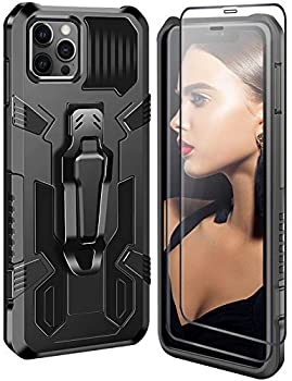 Kickstand Cases Compatible for iPhone 12 Pro Max Case with Screen Protector Rugged Military Grade Protective Cover with Belt Clip and Magnetic Car Mount Compatible for iPhone 12 Pro Max Phone