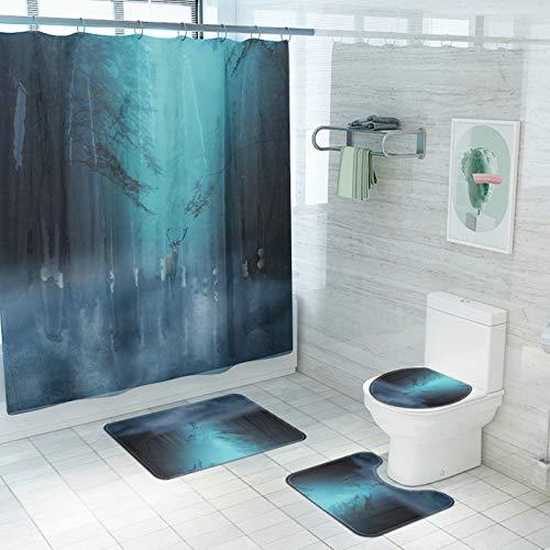 Aimrio Duschvorhang Badematten 4Teilig Set, Vorh?nge Bad Fenster 180x180 Wald Elch Badezimmerteppich Waschbar 45x75cm, Toiletten Teppich Vorleger, Deckel Toilettensitz Gr¨¹n blau