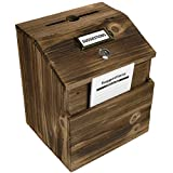 Rustic Suggestion Box with Lock: Wooden Ballot Comment Box, Wall Mounted or Freestanding. ...